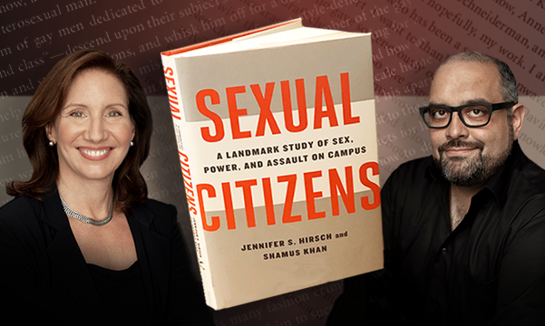 Photographic portrait of Jennifer S. Hirsch and Shamus Kahn with book cover to Sexual Citizens